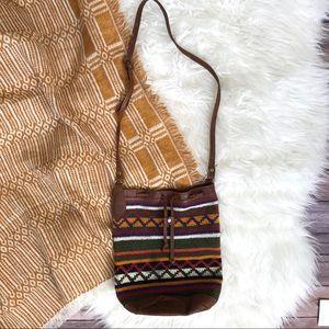 Handbags - Boho woven striped leather cotton bucket bag purse